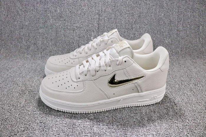 Nike Air Force 1 AF1 米色 百搭 皮革 休閒滑板鞋 男女鞋 AO3814-001