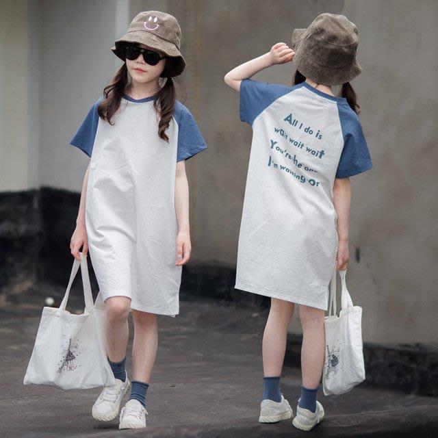 iKIDS♬2019夏季 新款 韓版 女童 童裝 中童 大童 簡約風 藍色插肩 寬鬆 短袖 連衣裙 親子裝(預購) PO