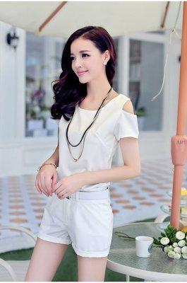 韓版露肩短袖短褲休閒兩件套裝名媛小香風(白色) J-11983