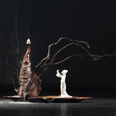 木頭香爐倒流大號高山流水仿古檀香熏爐陶瓷居室倒流香爐創意擺件WY   全館免運