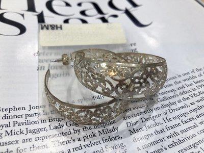 [ AD lib 代購 ] 出清 H&M 銀色 顯眼 繩索刻樣 裸空 圓形 大耳環 造型 耳環 台北市