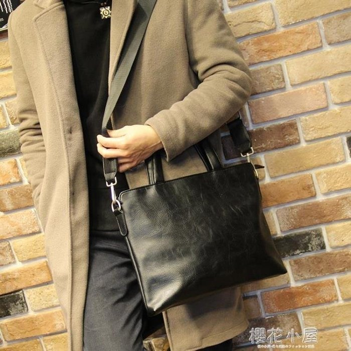 小P男包 新款潮流公文包男士包商務手提包橫款單肩包斜挎休閒背包