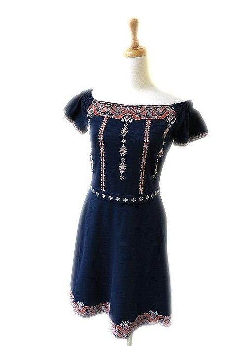 *Beauty*TORY BURCH藍色刺繡短袖洋裝 8990元WE16