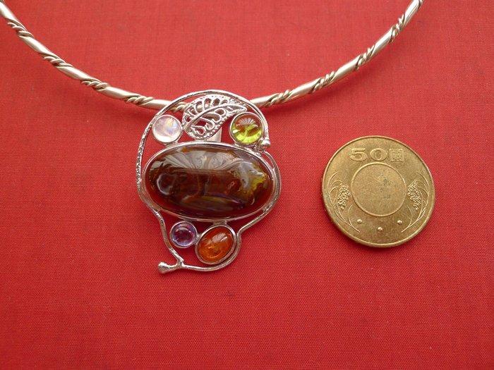 銀工坊  單一價】925純銀天然墨西哥火瑪瑙銀墜(01)~~給第一標