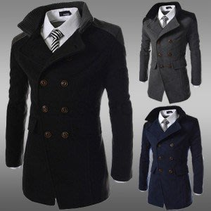 yes99buy加盟-2014秋冬새로운 韓味個性修身立領保暖外套 男士中長款雙排扣呢大衣