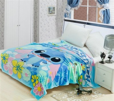 迪士尼 史迪奇 史迪仔 卡通薄珊瑚絨毯 (春.秋.冬.皆適用)-多用途超柔觸感 單人