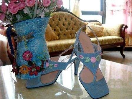 【ESCADA】 Germany 's top luxury丹寧刺繡花朵人字夾腳拖高跟鞋原價$15500