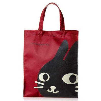 【露西小舖】日本NEKONINGEN輕量防水大手提袋(貓咪臉圖案)手提包資料袋便當袋適合上班等場所使用[日本平行輸入]