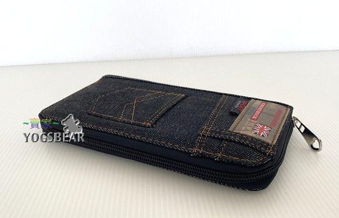 【YOGSBEAR】K 男女適用 錢包 卡包 手拿包 帆布皮夾 錢夾 皮包 二折長夾 護照包 拉鍊包 長夾 黑