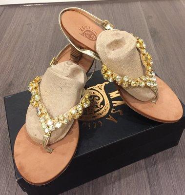 原價26800元 全新 MACANNA 麥肯納 麥坎納 奧地利水鑽夾腳中跟鞋37號-義大利製
