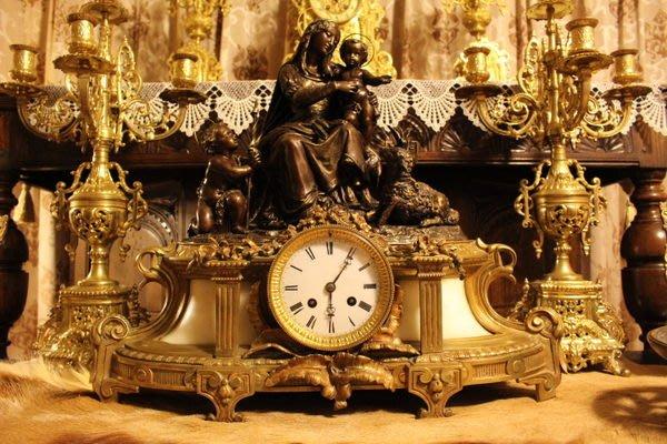 【家與收藏】特價稀有珍藏歐洲古董19世紀法國古堡莊園老教堂聖像天使銅雕大座鐘