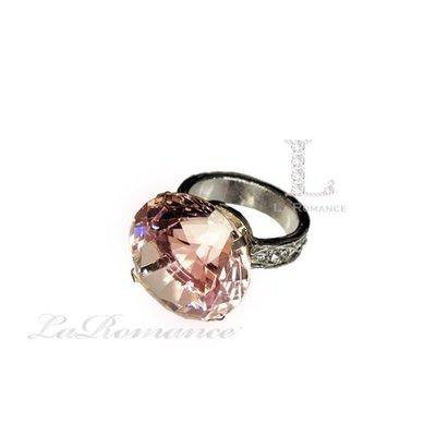 【芮洛蔓 La Romance】 3 cm 水晶鑽戒指造型餐巾環 - 粉色 / 情人節 / 求婚