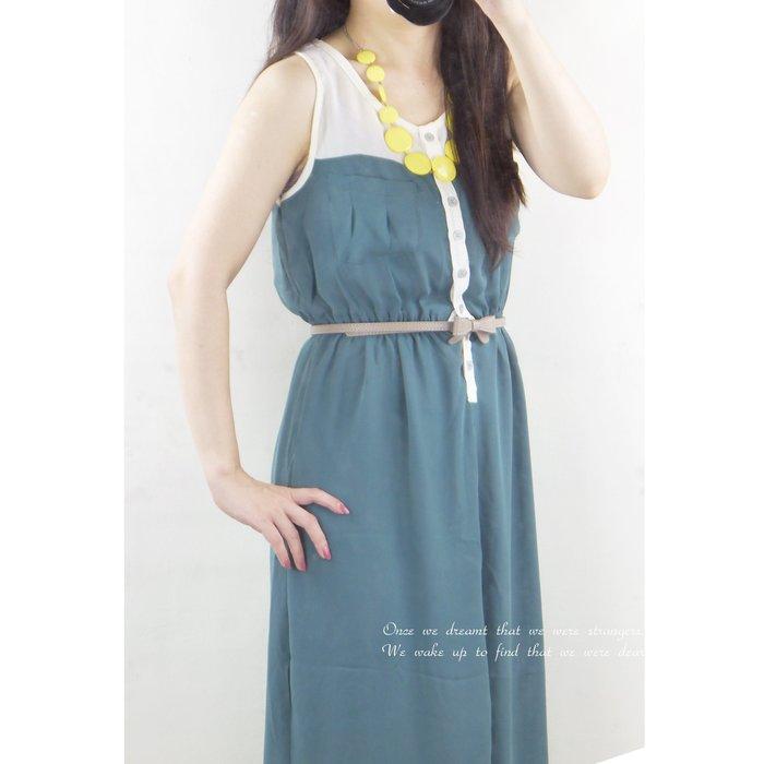 正韓 韓國連線 雪紡紗洋 連身長裙 雙口袋(橄欖綠、寶藍)~桔子瑪琪朵