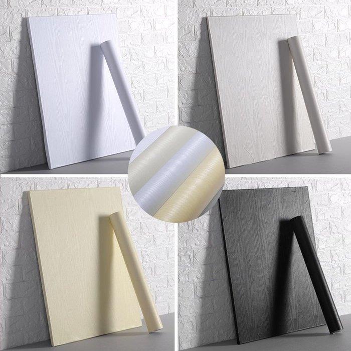 仿白木紋貼紙加厚自粘墻紙防水衣柜子門桌面舊家具翻新貼波音軟片