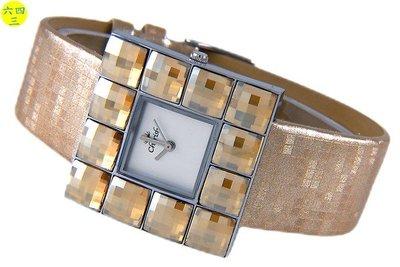 (六四三精品)方型Cherish(真品)超亮施華洛世奇(swarovski)多方切割水晶鑽錶.香檳款