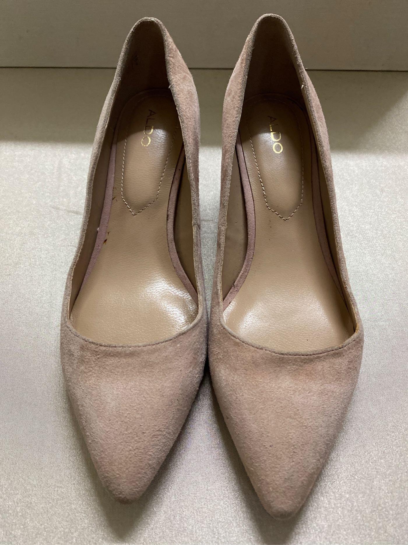 ALDO雞皮粉紅色尖頭包鞋/鞋後方跟/撞色鞋/前包高跟鞋