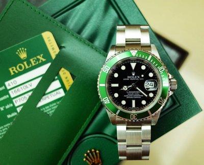 ROLEX 16610LV 勞力士經典綠水鬼 50週年紀念款 黑面亮綠框 最尾期 亂碼ㄧ錶難求 限量稀有 盒單配件全套齊