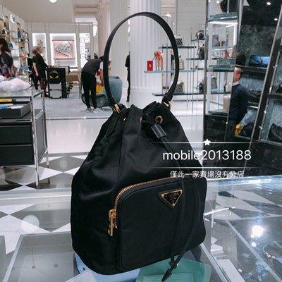 全新正品 PRADA Fabric Shoulder Bag 1BH038 黑色 經典三角鐵牌 尼龍 束口水桶 兩用包