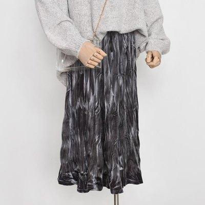 ins超火的2019秋冬韓國chic復古金絲絨褶皺裙百搭百褶半身裙子女 青木鋪子