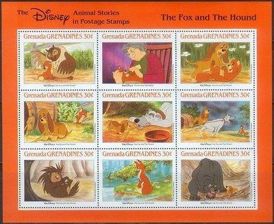 獵郵魔^^ 格瑞那達1980「迪士尼卡通 狐狸與獵狗The Fox and the Hound(貓頭鷹黑熊) 」