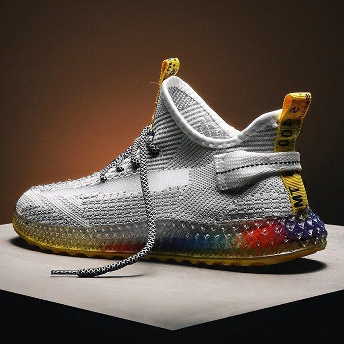 爆款4D打印飛織男鞋椰子鞋個性彩色果凍底潮鞋 透氣運動鞋【e街酷】XDF03