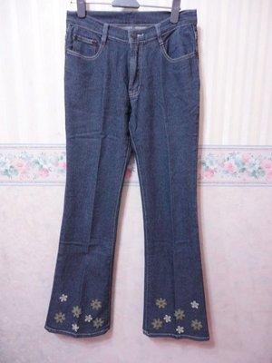 一元起標~皮革小花下擺設計牛仔褲~SIZE:M