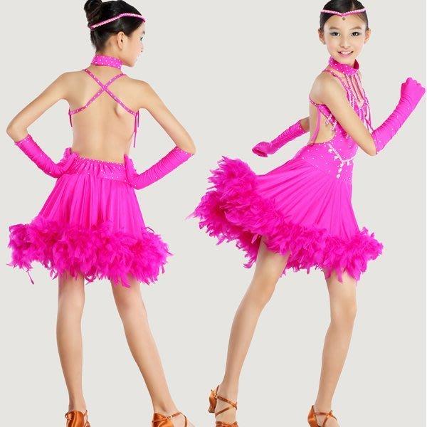 5Cgo【鴿樓】會員有優惠18602506059 吊帶鑲鑽高檔羽毛少兒拉丁舞蹈連衣裙比賽服肚皮舞服