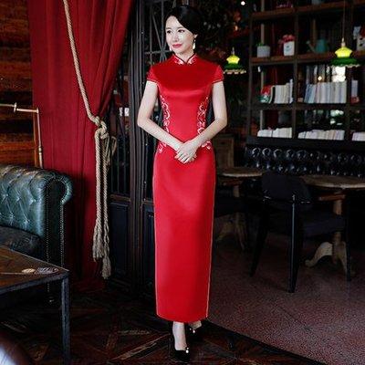 妞妞 婚紗禮服~婆婆媽媽紅色旗袍修身顯瘦結婚訂婚禮服~3件免郵