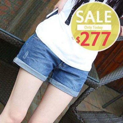 【愛天使孕婦裝】92196反摺牛仔短褲 孕媽咪必備 孕婦褲 (可調腰圍) top
