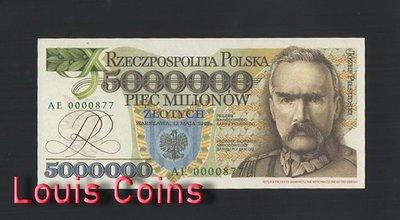 【Louis Coins】B485-POLAND-1995波蘭紙幣,5.000.000 Złotych(官方復刻版)