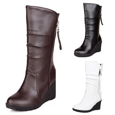 大碼靴 包運費 NEW 白/啡/黑色 冬天 日韓 坡跟 短靴 仿皮 靴 女 高跟靴 拉鍊 大碼 小碼 鞋 VANCY Boots 30-50 碼 SB57