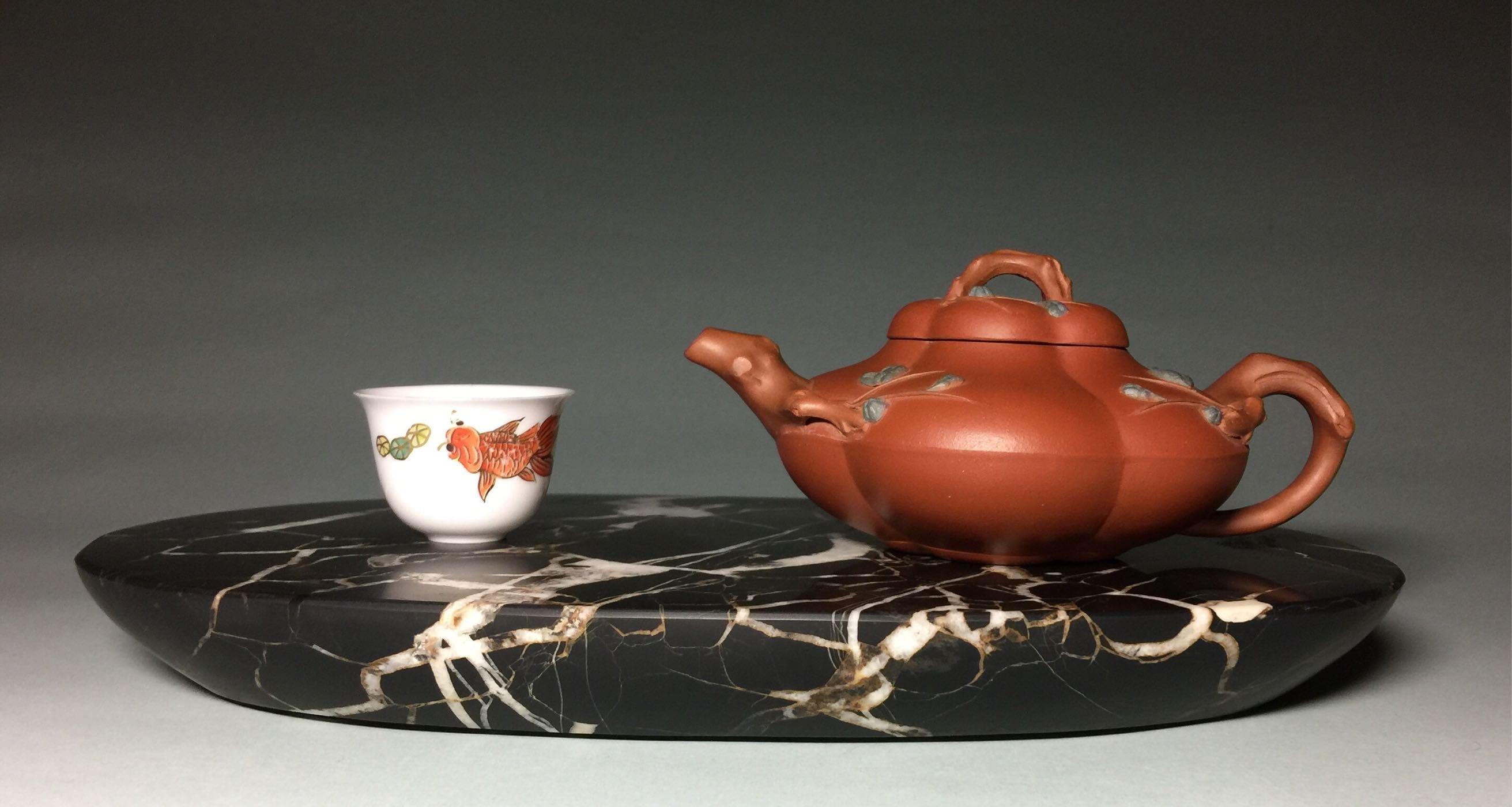 《老爹私房寶貝》埔里黑膽石膽型茶盤(不含茶壺、茶杯)