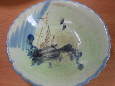 【玉文坊】-民俗-* 阿嬤的古早山水綠大碗 * 寬: 22 公分 2F2-35
