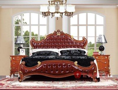 [紅蘋果傢俱] G312A 艾廷軒系列 頂級進口 歐式 法式  新古典 金箔雕花 彩繪 床台 雙人床 加大床 床組