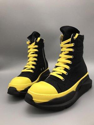 RICK RO DS DRKSHDW 2021ss 緞面黃色雙層底高統鞋