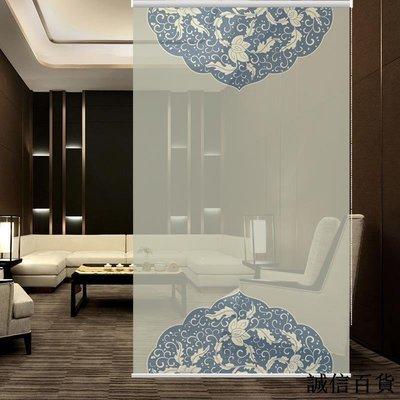 掛簾軟隔斷茶樓會所裝飾半透明掛式布藝中式藍色花紋簾子