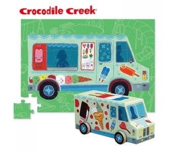 【小糖雜貨舖】美國 Crocodile Creek 汽車 造型盒 拼圖 系列 - 冰淇淋車