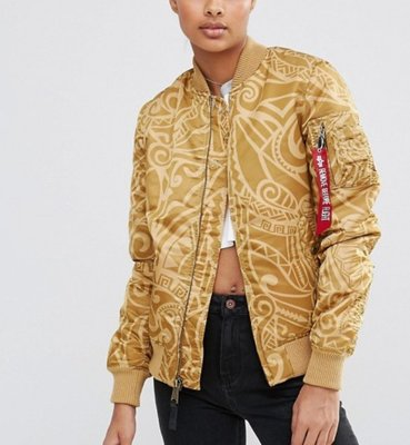 ALPHA INDUSTRIES MA-1 VF Tonga Print Bomber M號 金色 東加 女生 飛行外套