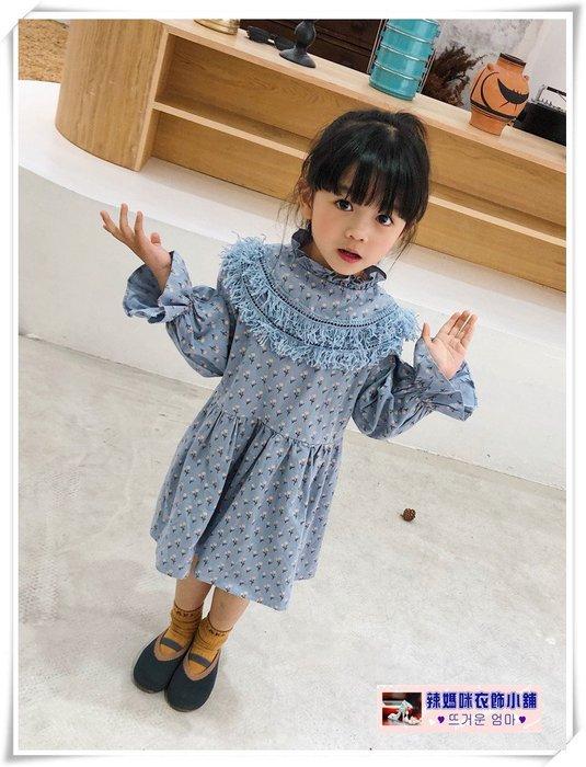 •*~ 辣媽咪衣飾小舖 ~*•❤童裝系列 📣X630254韓版兒童春季甜美印花洋氣立領百褶喇叭袖洋裝