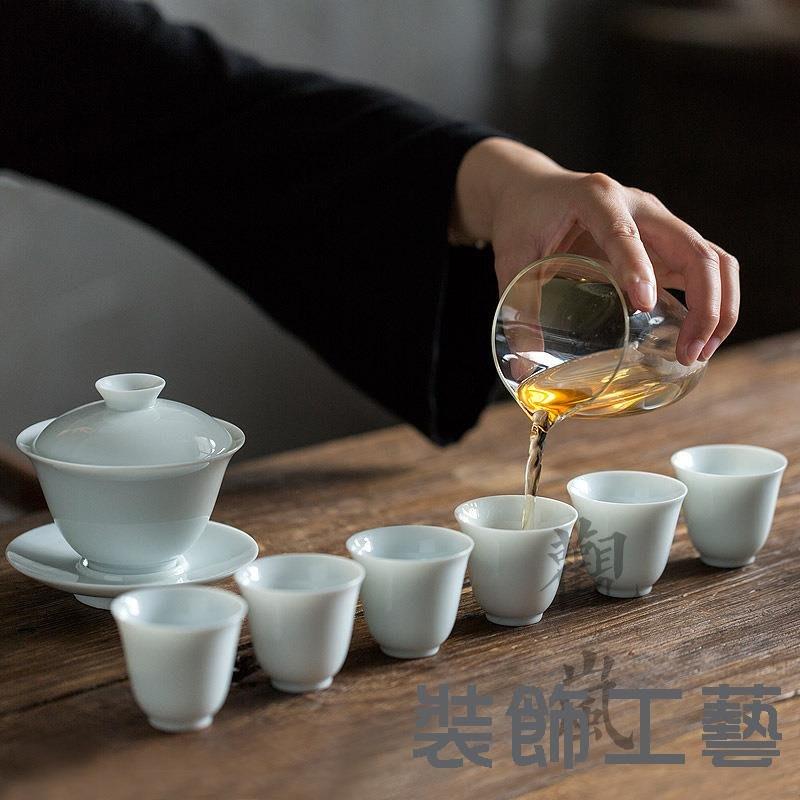 景德鎮青瓷泡茶碗功夫茶具套裝家用陶瓷三才蓋碗茶杯6人套組