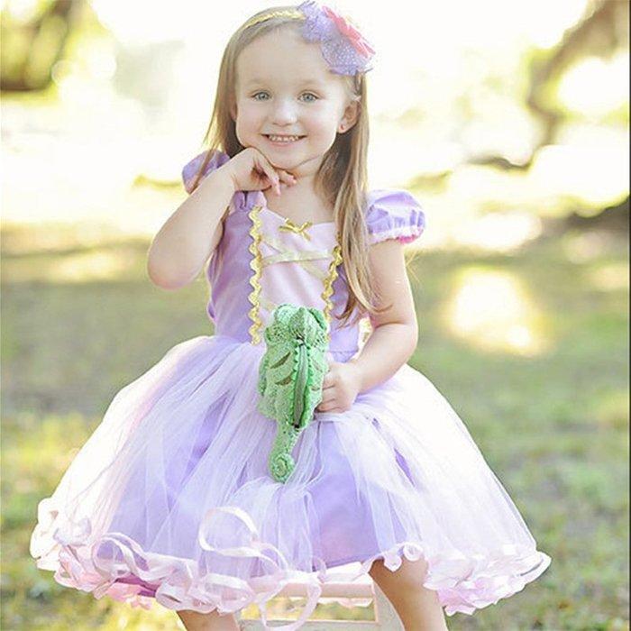 【小阿霏】女童長髮公主連身裙子 女孩Rapunzel公主洋裝連衣裙蓬蓬紗裙 萬聖節cos主題派對裝扮女孩生日禮物CL99
