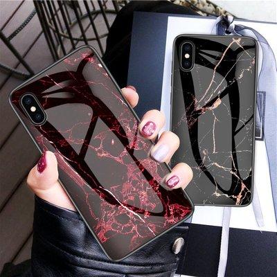 蘋果 iPhone X XS MAX XR 手機殼 防摔 iPhoneXR 鋼化玻璃背蓋 保護套 全包 矽膠軟邊 大理石