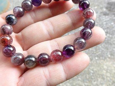 ~shalin-crysta~高密度三輪紫髮晶能量手珠~22.24公克~開智慧~晶質優~能量優質~低價起標!