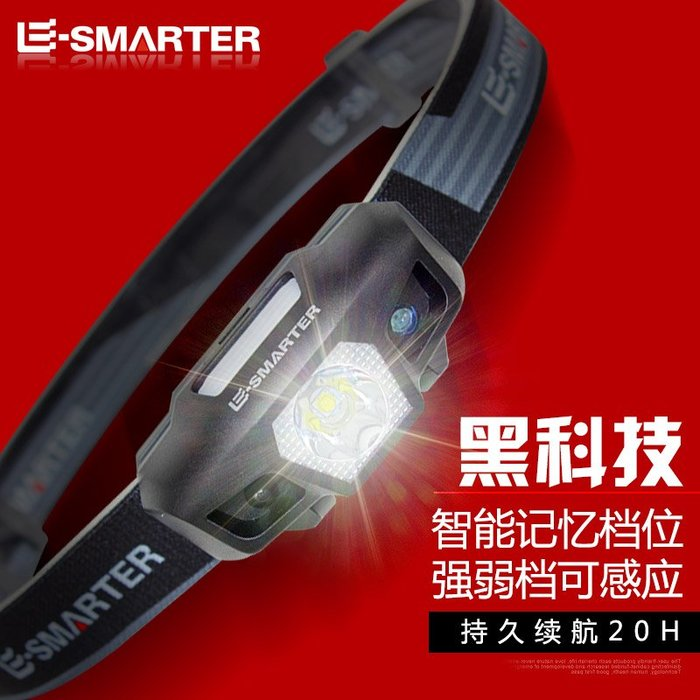 LED強光頭燈USB充電超亮感應迷你夜釣魚礦燈頭戴式鋰手電筒戶外夜騎便攜夜釣野營手電筒