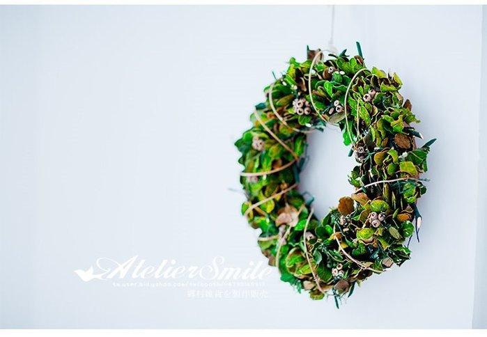 [ Atelier Smile ] 鄉村雜貨 日本直送 森林系 樹葉花環 鄉村居家掛飾 直徑35CM #聖誕裝飾