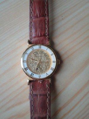 售 鍍金防水女石英錶鏡面是純金9999
