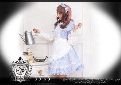 Oo吉兒oO【JGHA126BU】蘿莉塔日系甜美萌系圍裙兩件式長袖洋裝下妻物語奇姬女僕 lolita 付頭飾 藍