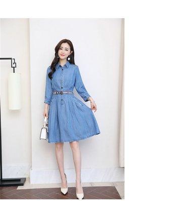 【天寶女裝】歐美風~F03012A19BBL2027-精美長袖薄款牛仔洋裝