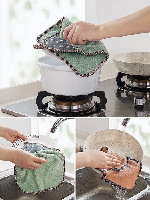 吖吖雜貨店*珊瑚絨吸水洗碗布擦手巾 掛式家務清潔廚房洗碗巾擦桌抹布優惠推薦(十件起購買)