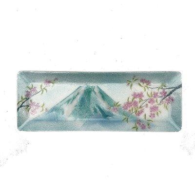 日本七寶燒飾皿 富士櫻 24*9CM ~七寶燒擺飾品 彩繪立盤 裝飾盤開運盤~日本景泰藍 手工製禮品